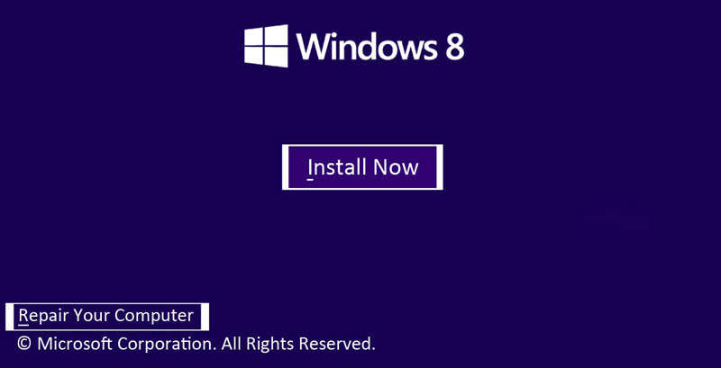 Advance Startup Option - Windows 8 DVD