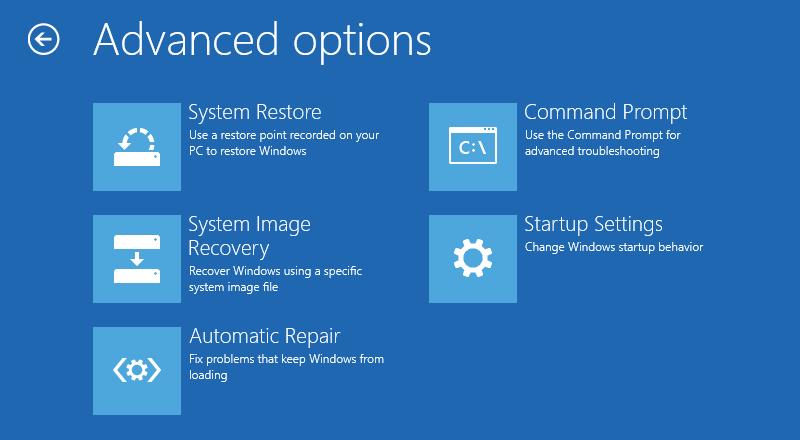 Advanced Options - WinRE (Windows Recovery Environment)