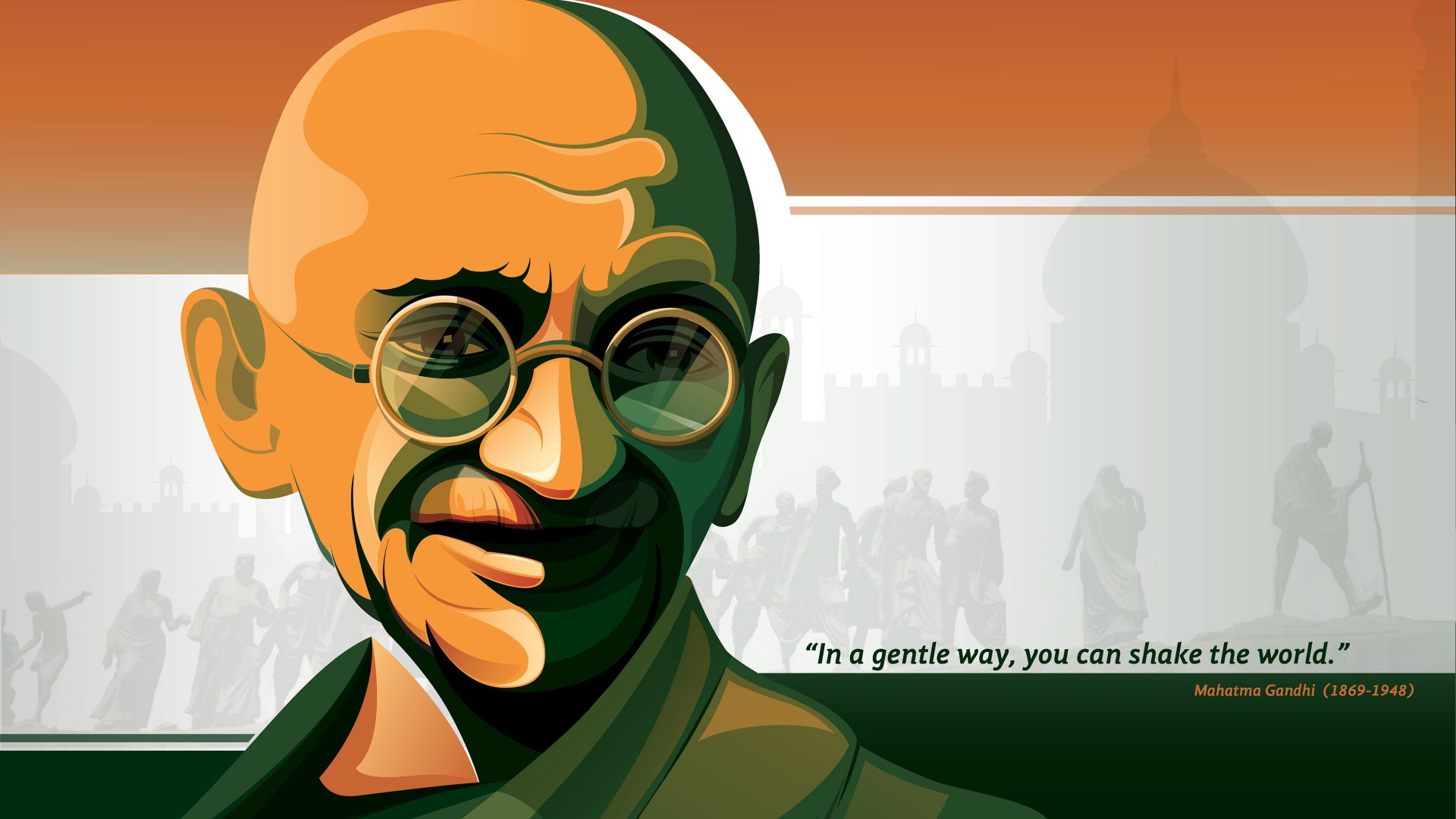 Mahatma Gandhi - India Flag HD