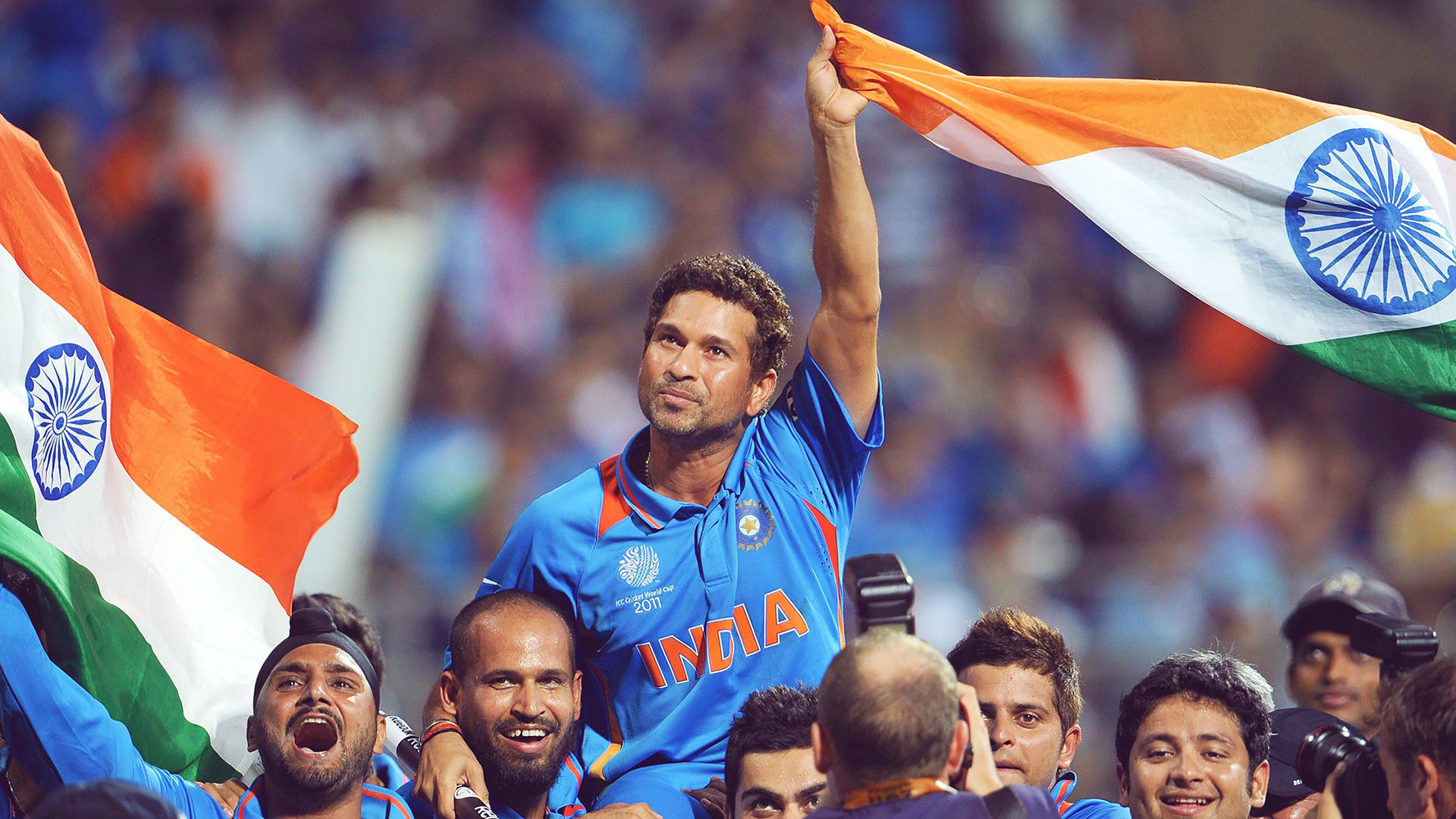 Sachin Tendulkar Celebrating 2011 Cricket World Cup India with Indian Flag