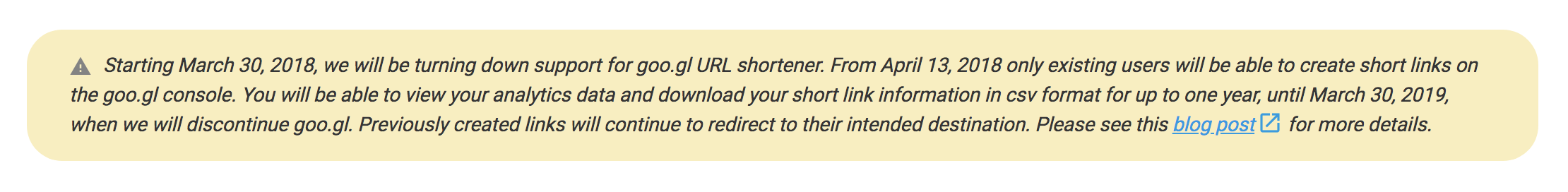 Goo.gl URL Shortener Service Notice