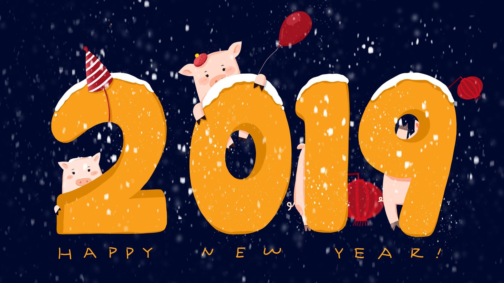 Happy New Year 2019 Winter Cute Pigs HD Wallpaper 1920x1080