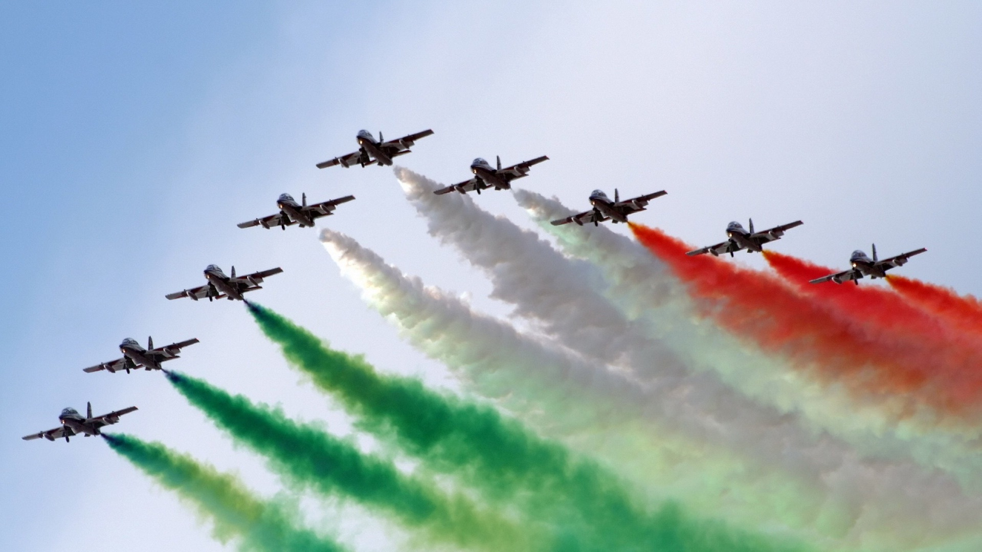 Indian Flag in Sky of Flying Airplane Smoke