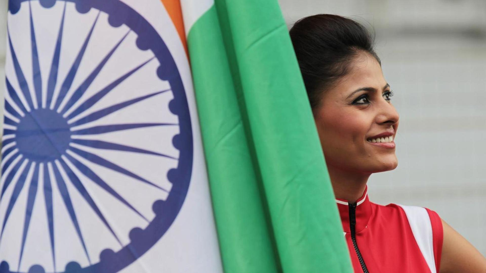 Lady with the Indian Flag