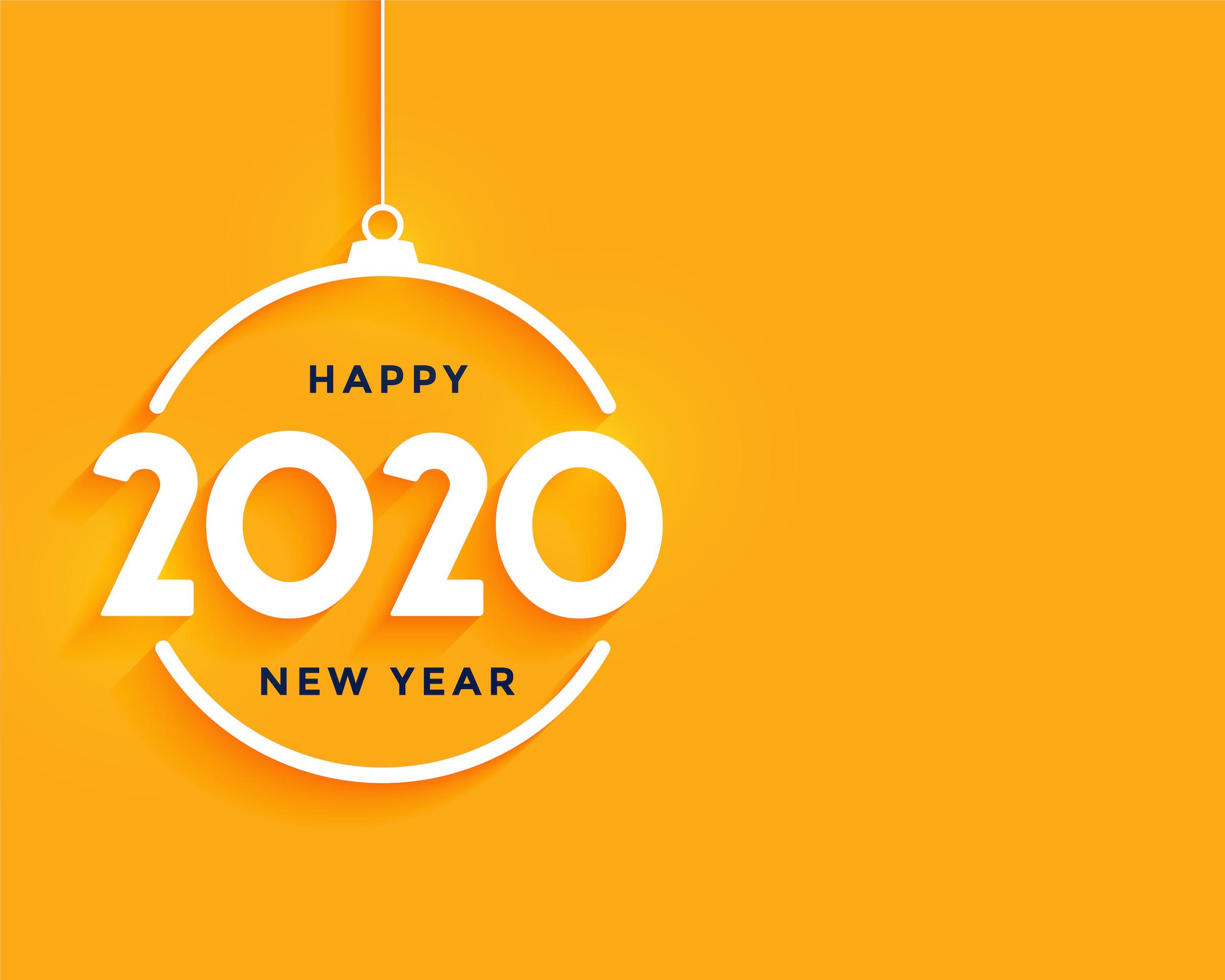 Happy New Year Bright Yellow Minimal Background