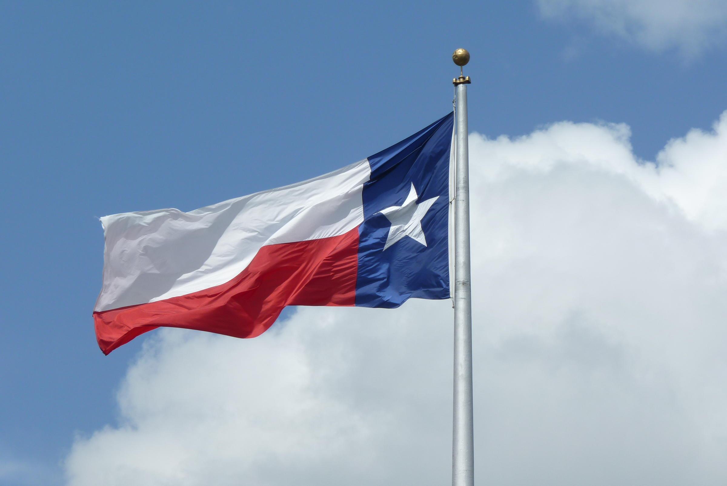 Texas Flag Waving in the Sky