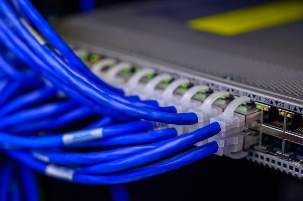 Image of ethernet cables connected to a switch