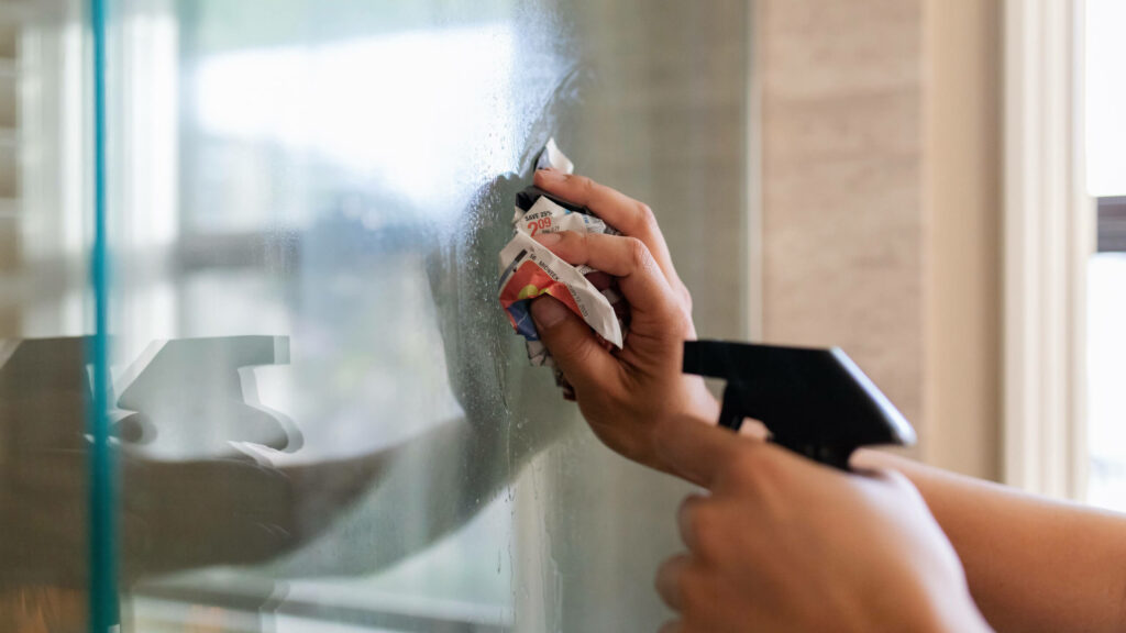 Remove sticky residue from glass